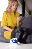 Woman talks on the phone. (focus on the cup of coffee Stock Photos
