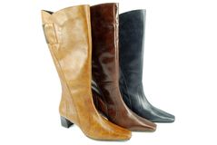 Woman tall leather boots Stock Image