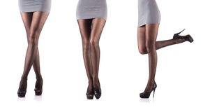 Woman with tall legs  on white Royalty Free Stock Images