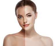 Woman tan half face beautiful portrait spray royalty free stock image