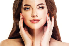 Woman tan half face beautiful portrait spray Stock Image