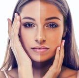 Woman tan half face beautiful portrait Stock Photos
