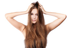 Woman with tangled hair. Stock Photography