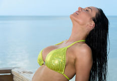 Woman tanning in beach. Sensual brunette tanning in a beach Stock Images