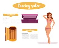 Woman in tanning salon. Stock Images