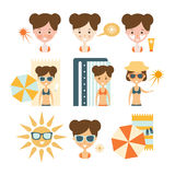 Woman Tanning And Using Skin Protection. Flat Simple Cartoon Infographic Style Illustration On White Background Royalty Free Stock Photos