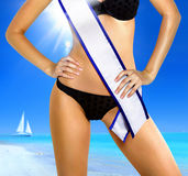 Woman with tape of beauty contest. Part of woman shape in underwear with white tape of beauty contest Stock Images