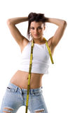 Woman and tape measure Stock Photos