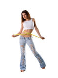 Woman with tape measure Stock Photography