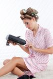 Woman with Tape Recorder Royalty Free Stock Images