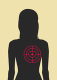 Woman and target directly in the heart Royalty Free Stock Photo