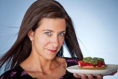 Woman with tart Royalty Free Stock Image