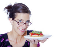 Woman with tart Stock Images