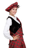 Woman in a tartan outfit Royalty Free Stock Images