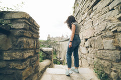 Woman tasks picture in fron of castle Stock Photo