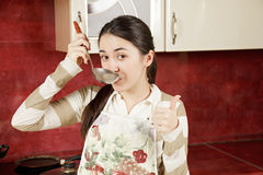 Woman tasting delicious soup Royalty Free Stock Photo
