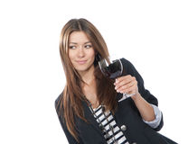 Woman Tasting drinking sampling red wine. Isolated on a white background stock photo