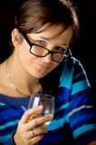 Woman Tasting White Wine Stock Photos