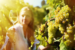 Woman tasting wine. Lavaux region, Switzerland royalty free stock images
