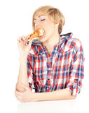Woman with tasty cake Royalty Free Stock Photography