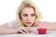 Woman with tasty cupcake Royalty Free Stock Photos