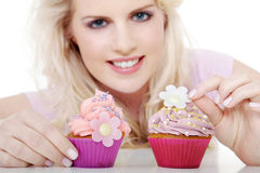 Woman with tasty cupcake Stock Images