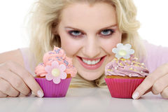 Woman with tasty cupcake Stock Photos