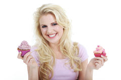 Woman with tasty cupcake Stock Photography