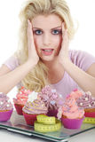 Woman with tasty cupcake Stock Photo