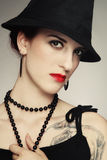 Woman with tattoo royalty free stock images