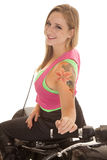 Woman tattoo motorcycle sit backwards smile Stock Photos
