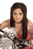 Woman tattoo pink shirt motorcycle close Stock Photography