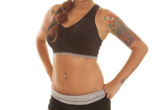 Woman tattoos body belly Stock Photos