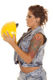 Woman tattoos construction hold hat Royalty Free Stock Images