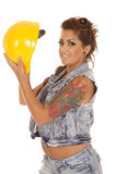 Woman tattoos construction hold hat look Stock Image