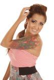 Woman tattoos dress close hand hair Royalty Free Stock Photo