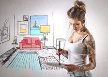 Woman with tattoos painting a room illustration Royalty Free Stock Photography