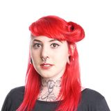 Woman with tattoos and piercings. Young woman with piercings and tattoos stock photos