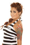 Woman tattoos side close guilty Stock Photo