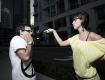 Woman Taunting The Man With The Engagement Ring Stock Photo