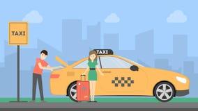 Woman with taxi. Stock Photos