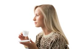 Woman with tea Royalty Free Stock Images