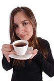 Woman with tea. Woman drinking tea on white Stock Image