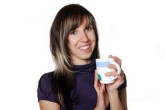 Woman with tea Royalty Free Stock Photos
