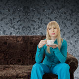 Woman with tea Stock Photo
