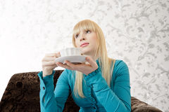 Woman with tea Royalty Free Stock Photo