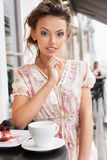 Woman and tea Royalty Free Stock Images