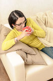 Woman tea coffee drinking hot beverages Stock Photography