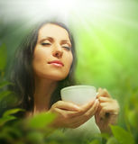 Woman with tea cup, background Stock Photos