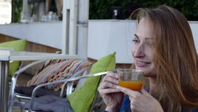 Woman with tea cup. stock footage